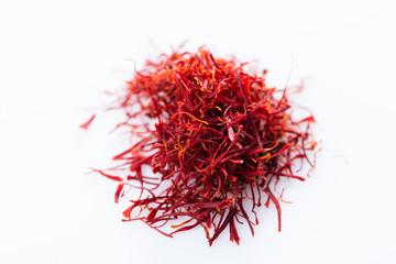 Close-up of saffron spice on white background