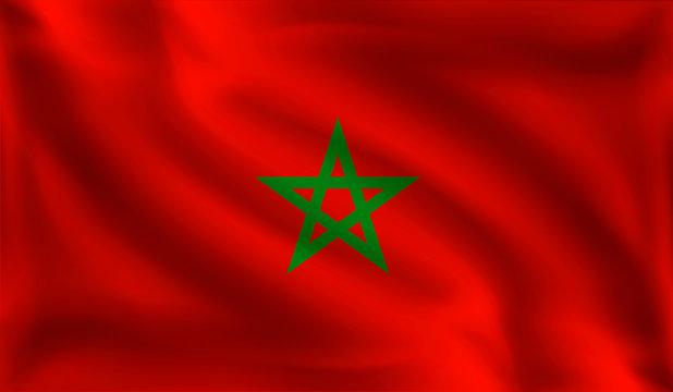 Waving Morocco flag, the flag of Morocco, vector illustration