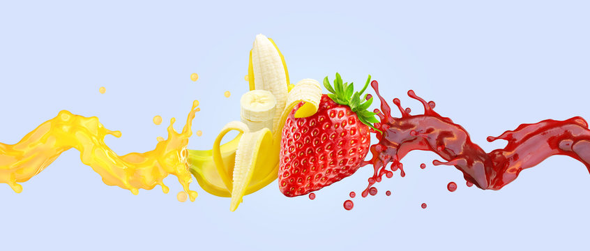 Healthy strawberry and banana fruit smoothie liquid swirls splashes. Fruits juice liquids splashing together. Banana, strawberry smoothie in two swirls form. Cocktail drink design. 3D