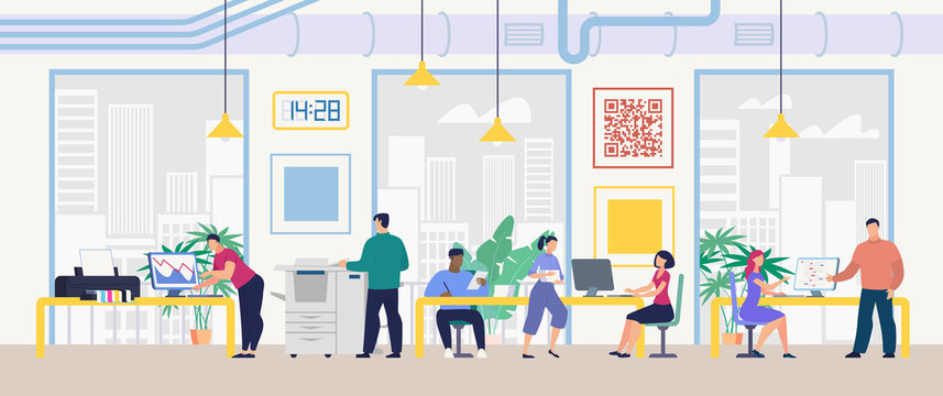 Daily Work and Office Routine Flat Vector Concept. Multinational Employees Sitting at Desk, Working on Computer, Doing Standard Paperwork, Communicating with Colleagues in Company Office Illustration