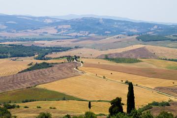 Tuscany hills panorama summer view, Italian landscape