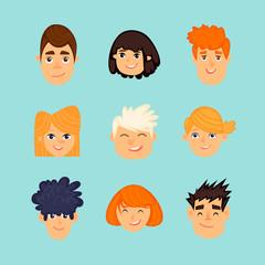 Avatars of children, children's faces, portrait. Flat design vector illustration.