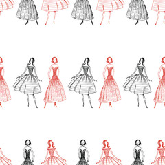 Seamless pattern of sketches of women in evening gowns