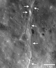 NASA handout image of a prominent lunar thrust fault scarp, one of thousands of such cliffs on the moon's landscape, discovered in Lunar Reconnaissance Orbiter Camera images
