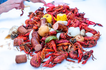 Crawfish Boil on Table