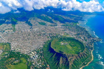 Diamond head Oahu aerial view