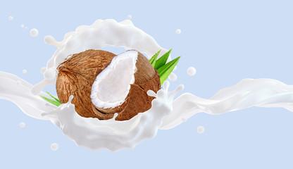 White fresh coconut milk wave splash with coconuts isolated. Glossy shining milk, healthy coconut milk, cream, shampoo, cosmetic soap splash. Liquid splash label ads design element. 3D