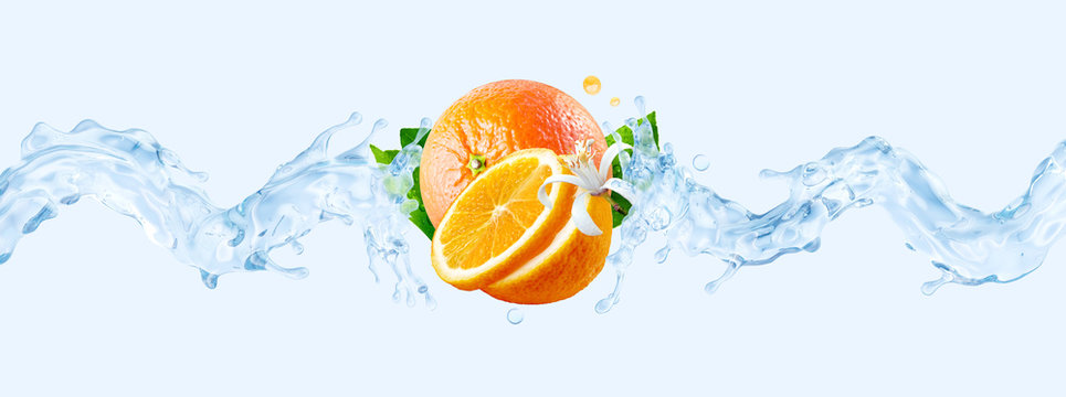 Fresh cold pure flavored water with orange wave splash. Clean orange fruit infused water or liquid fluid wave splash. Healthy flavored detox drink wave concept with orange fruits. 3D