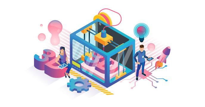 3D printing vector illustration. Isometric plastic product DIY tech concept