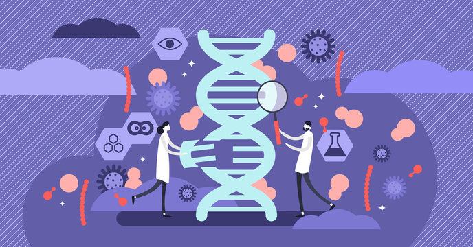 Genetics vector illustration. Flat tiny DNA biology research person concept