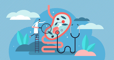 Gastroenterology vector illustration. Tiny stomach doctor persons concept.