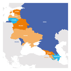 Fototapete - East Europe Region. Map of countries in eastern Europe. Post Soviet and Caucasian countries. Vector illustration
