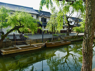 Boats on a Canal in Japan