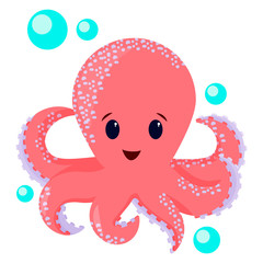 Cute octopus cartoon illustration. Can be used for t-shirt print, kids wear fashion design, baby shower invitation card. Octopus isolated on white background.