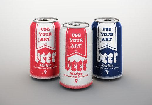 3 Beverage Cans Matte Product Packaging Design Mockup