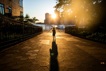 A toddler aged girl standing on the Brooklyn waterfront at sunset. Fotomurales
