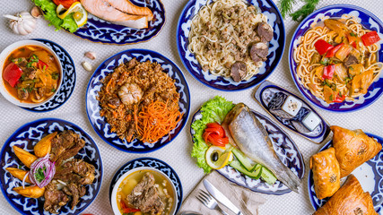 dishes of Uzbek cuisine lagman, pilaf