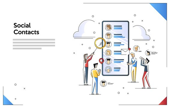 Vector illustration of contact list social network. Flat line art style concept. Small people characters doing various tasks,