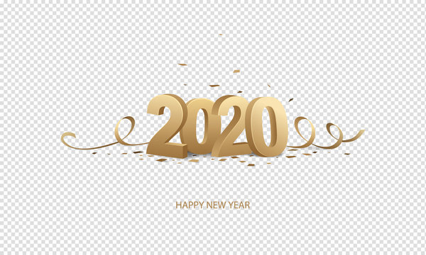 Happy New Year 2020. Golden 3D numbers with ribbons and confetti on a transparent background.