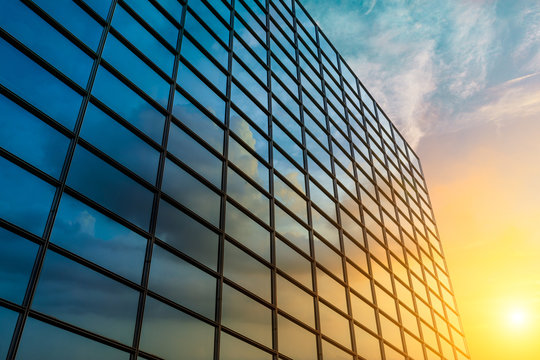 Modern office building detail,glass surface