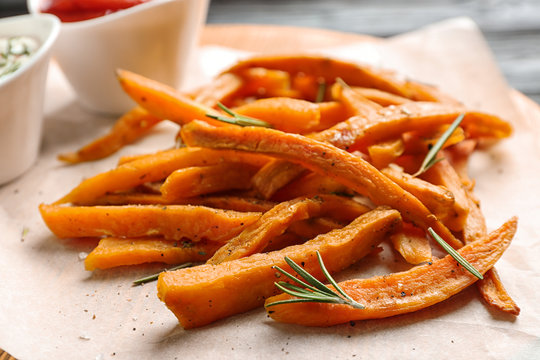 Closeup view of board with sweet potato fries