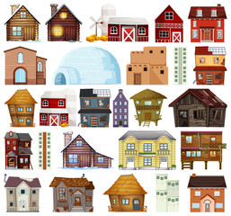 Wall Murals Kids Set of different house style