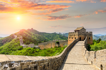 In de dag Chinese Muur The Great Wall of China at sunset,Jinshanling