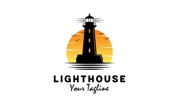 Lighthouse with ocean vector logo design