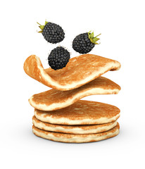 3d Illustration of pancake with fresh blackberry isolated on white background