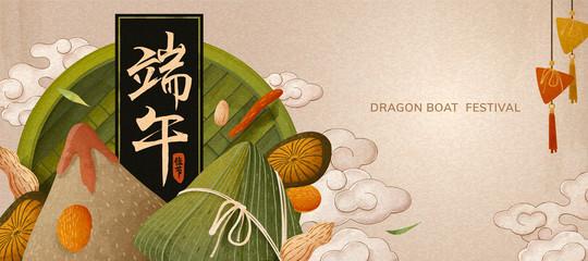 Delicious rice dumplings banner Fotomurales