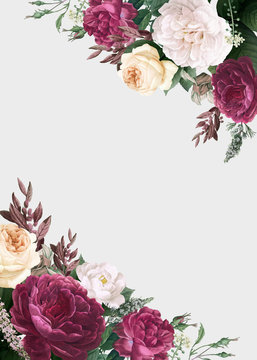 Floral design wedding invitation mockup