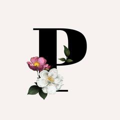 Floral letter P font