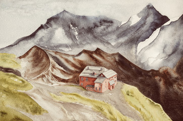 House on a hill among high mountains. Watercolor landscape with lonely house and mountains.