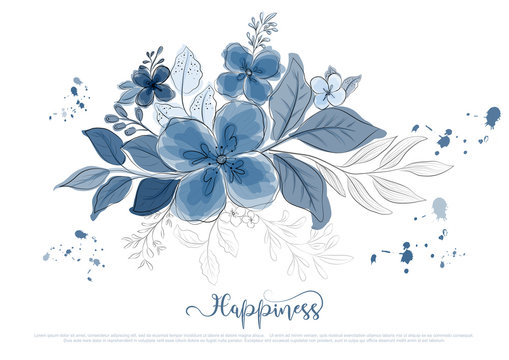 Hand drawn beautiful blue flowers blossom with black line