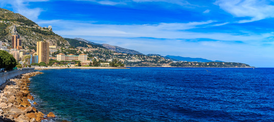 Panorama of Monaco coastline and luxury residential apartment buildings in Monte Carlo Principality of Monaco Wall mural