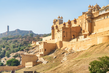 Wonderful view of the Amer Fort and Palace, Jaipur, India
