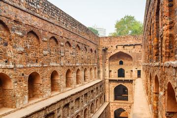 Unusual view of Agrasen ki Baoli reservoir in Delhi, India