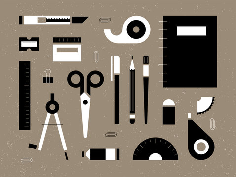 List black and white office supplies school supplies objects. flat design style minimal vector illustration
