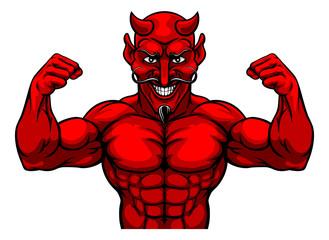 A devil Satan or Lucifer strong sports mascot cartoon character