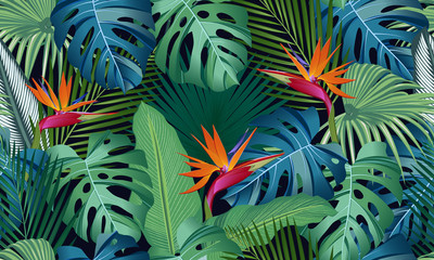 Seamless pattern tropical leaves with bird of paradise on black background Wall mural