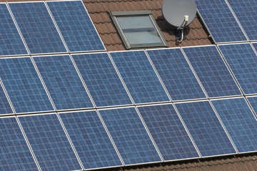 A house with solar panels on roof
