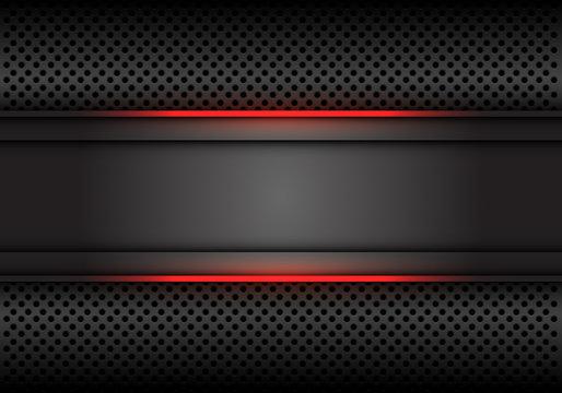 Abstract red light line dark grey banner on circle mesh design modern luxury futuristic background vector illustration.