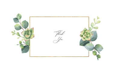 Watercolor vector frame with eucalyptus leaves and succulents.