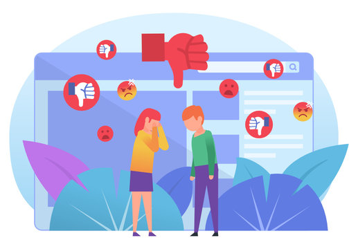 Bullying, trolling online in chat, messenger. Bad reviews, comments, dislike. Poster for social media, web page, banner, presentation. Flat design vector illustration