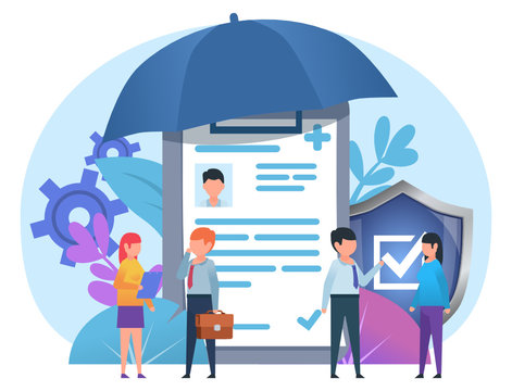 Medical, health insurance. Small people stand near big insurance document, umbrella, shield. Poster for social media, web page, banner, presentation. Flat design vector illustration