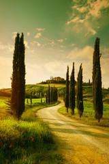 Vintage Tuscany countryside landscape
