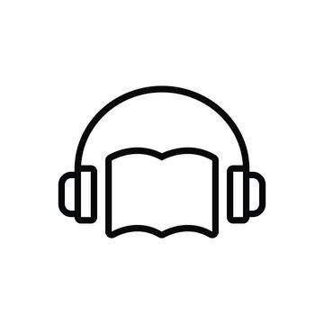 Black line icon for audio book
