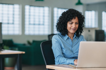 Smiling businesswoman sitting at her desk working on a laptop