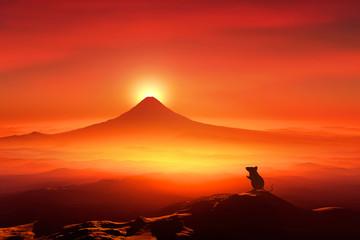 Tuinposter Rood 富士山の日の出とネズミのシルエット