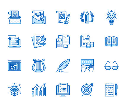 Copywriting flat line icons set. Writer typing text, social media content, e-mail newsletter, creative idea, typewriter vector illustrations. Writing thin signs. Pixel perfect 64x64. Editable Strokes
